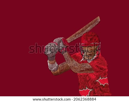 Oman Cricket Batter Player In Line Pattern On Red Background.
