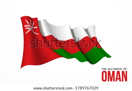 Oman flag state symbol isolated on background national banner. Greeting card National Independence Day of the Sultanate of Oman. Illustration banner with realistic state flag.