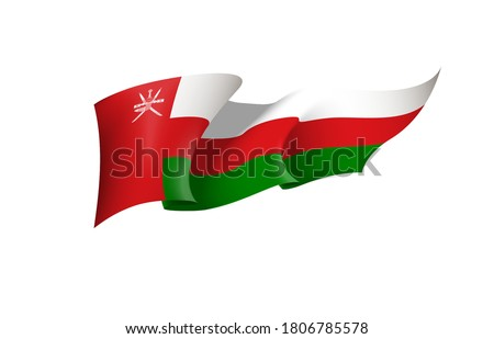 Oman flag state symbol isolated on background national banner. Greeting card National Independence Day of the Sultanate of Oman. Banner with realistic state flag.