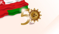 Oman Independence Day. The 50th logo with the Golden shield. Oman national day celebration with flag in Arabic translation: Oman national day 18 th November, 2020. Vector illustration.