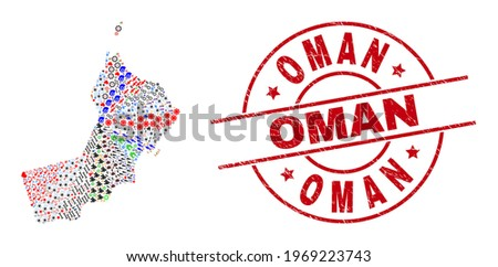Oman map mosaic and grunge Oman red round stamp imitation. Oman stamp uses vector lines and arcs. Oman map mosaic contains gears, houses, showers, suns, men, and more pictograms.