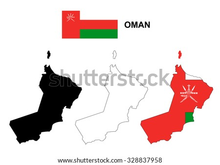 Oman map vector, Oman flag vector, isolated Oman