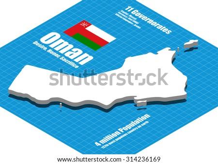 Oman map vector three dimensional