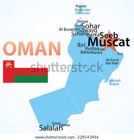 Oman - map with largest cities, carefully scaled text by city population.