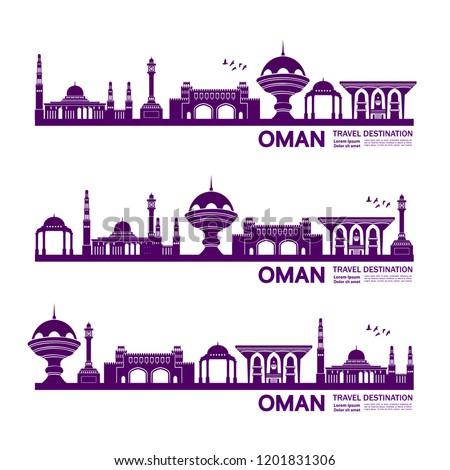Oman Travel Destination Vector illustration.