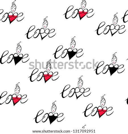 Stock Photo omantic vector image, inscription with heart and female head