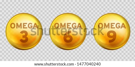 Omega acids. Healthy food supplements fatty acid epa dha 3, 6 and 9 organic vitamin nutrient fish oil, diet golden drops vector 3d benefits gold three design image