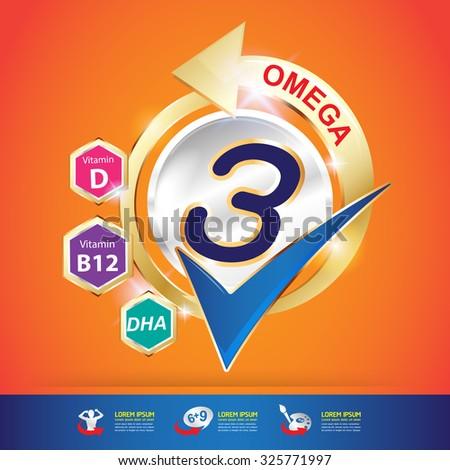 Omega and vitamin Logo packaging Vector