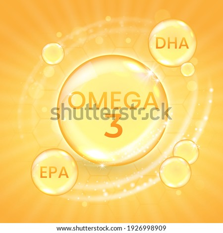 Omega-3 fatty acid supplement, shiny oil vitamin capsule. Fish oil droplet design template for advertisement or branding. Realistic vector illustration of golden essence bubble of dietary nutrition Foto stock ©