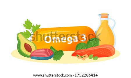 Omega 3 food sources cartoon vector illustration. Healthy fats in fish, avocado, nuts, oil flat color object. Polyunsaturated fatty acids for mental health isolated on white background Сток-фото ©