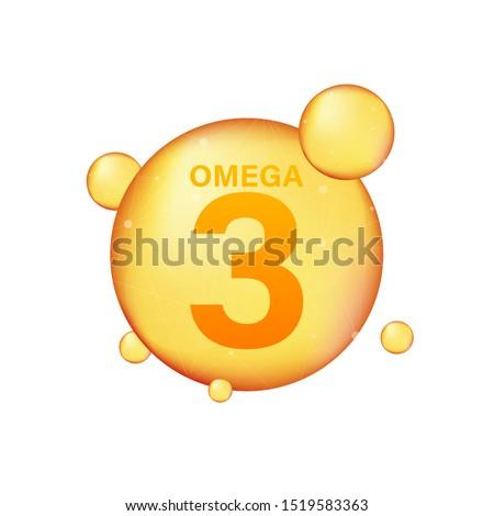 Omega 3 gold icon. Vitamin drop pill capsule. Shining golden essence droplet. Vector illustration. Сток-фото ©