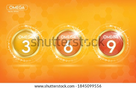 Omega Nutrients and Vitamin. Shining golden essence droplet. Beauty treatment nutrition skin care design. Vector illustration. Сток-фото ©