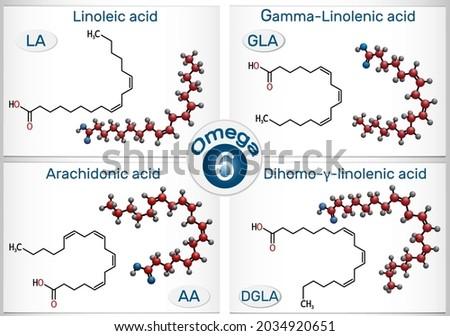 Omega-6, polyunsaturated fatty acids. Linoleic acid (LA), gamma-linolenic acid (GLA), arachidonic acid (AA, ARA), dihomo-gamma-linolenic acid (DGLA).  Photo stock ©