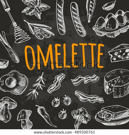 omelette card with elements of