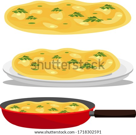 Omelette. Set of three omelets: in a pan, on a plate and isolated on a white background. Vector illustration. Stockfoto ©