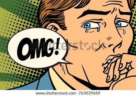 OMG man is crying, bad feelings. Comic book cartoon pop art retro Illustrator vector drawing