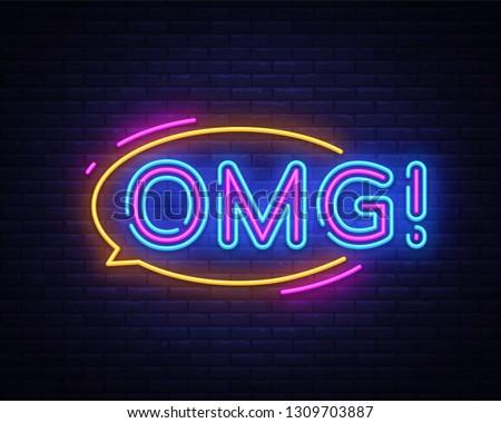 OMG neon sign vector. OMG pop art Design template neon sign, light banner, neon signboard, nightly bright advertising, light inscription. Vector illustration