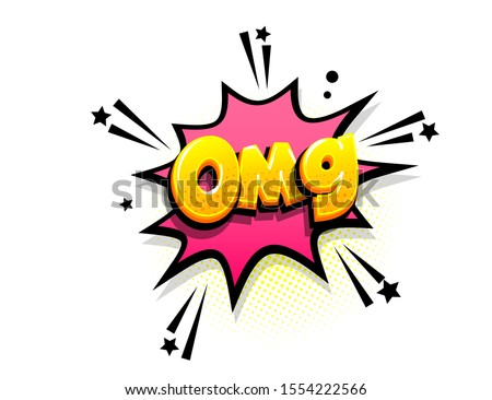 Omg oops isometric comics text shock phrase pop art. Cartoon funny retro font. Colored comic text speech bubble. Positive sticker cloud vector illustration.