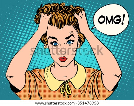 OMG the woman in shock pop art retro style. Emotions feelings of psychological stress. Beautiful girl upset that she had done. News and gossip