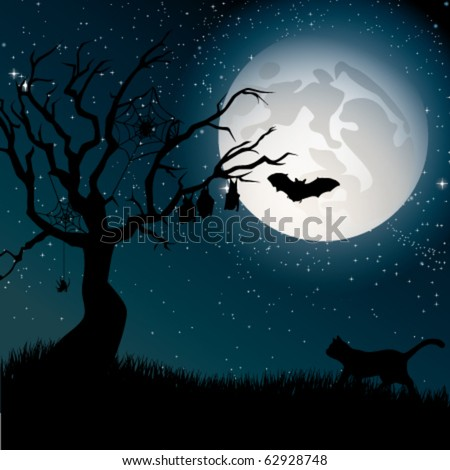 Ominous moon night with silhouettes of the tree, cat, bats and spiders.