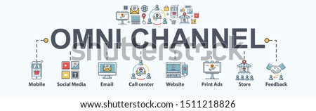 Omni channel banner web icon for business and social media marketing, contact, mail, call center, customer care, website, print and store. Flat cartoon vector infographic.