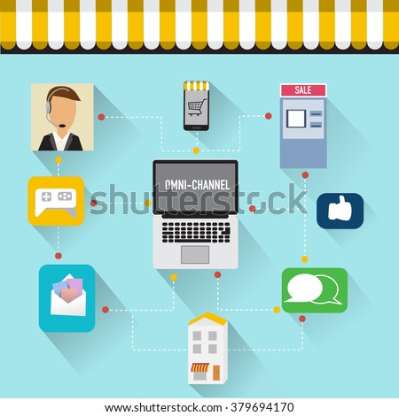 OMNI-Channel concept for digital marketing and online shopping.Illustration EPS10.