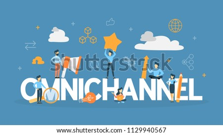 Omnichannel concept. Many communication channels with customer. Online and offline retail helps to grow your business. Flat line illustration