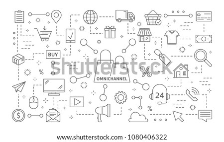 Omnichannel icons set. Line illustrations on white.