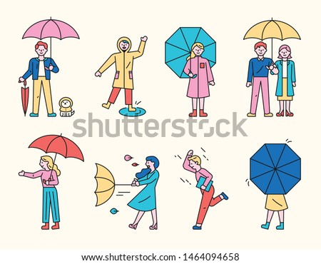 On a rainy day, people are standing in an umbrella. The umbrella overturns in the wind. A person running without an umbrella. Cute puppy waiting in raincoat.