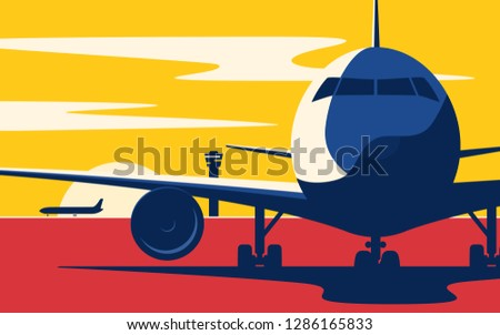 on a taxiway flat style vector