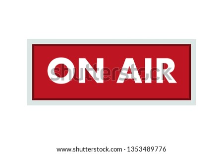 On air broadcast red studio icon. Media broadcasting warning sign. Template design for radio, television and streaming services. Vector illustration