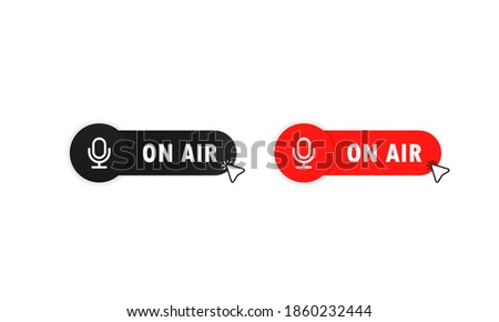 On air button for banner design. Red on air button. tudio table microphone with broadcast text on air. Webcast audio record concept buttons. Vector illustration. Zdjęcia stock ©