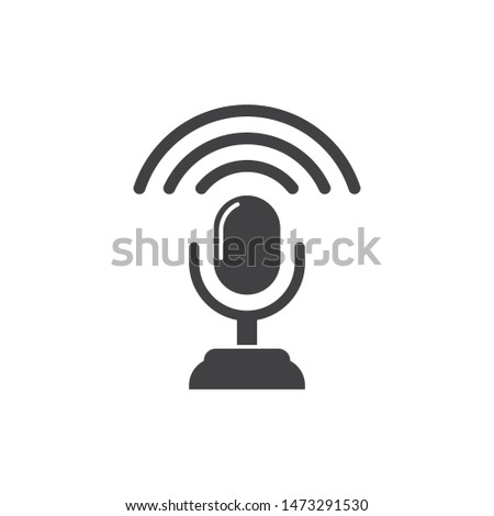 on air microphone broadcast logo icon vector illustration design