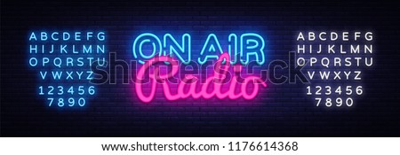 On Air Radio neon sign vector. On Air Radio Design template neon sign, light banner, neon signboard, nightly bright advertising, light inscription. Vector illustration. Editing text neon sign