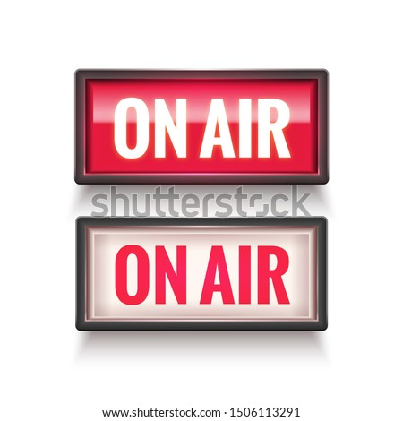 ON AIR studio light sign. Media broadcasting warning sign. Live board production record attention. Zdjęcia stock ©