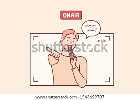 On air. young man with microphone in studio.Hand drawn style vector design illustrations.