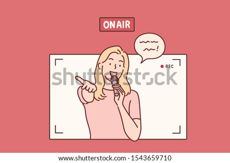 On air. young woman with microphone in studio.Hand drawn style vector design illustrations.