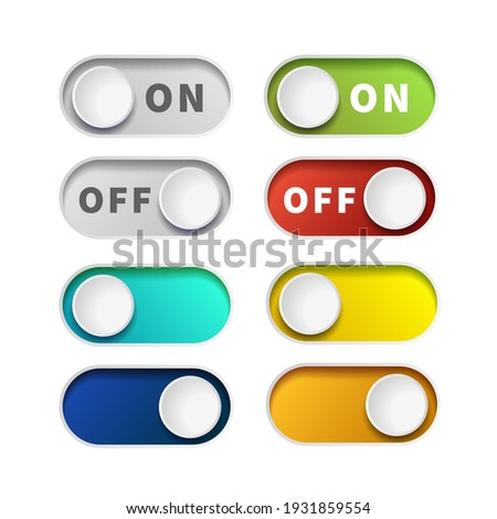 On and Off realistic toggle switch buttons isolated on white Stock photo ©