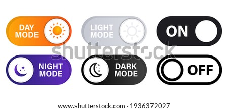 On and Off toggle switch buttons. Light and Dark Buttons. Day night switch. Gadget interface switch to Day and Night mode for Mobile App, Web Design, Animation. Day and Night Mode. Dark mode switch Сток-фото ©