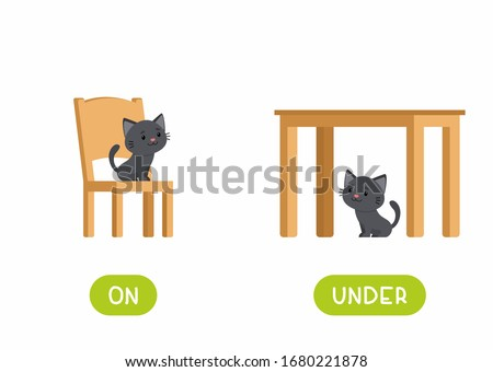 On and under prepositions antonyms word card flat vector template. Flashcard for english language learning. Opposites concept. Cat sitting on chair and under table cartoon illustration with typography