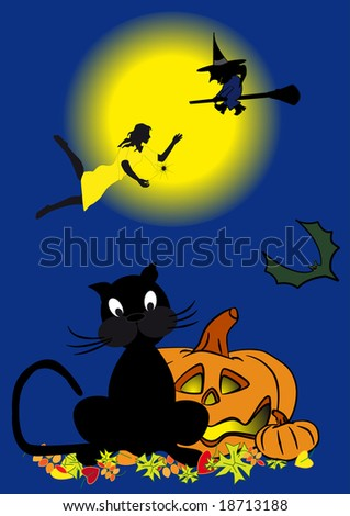 on blue background a folklore personages to holiday halloween