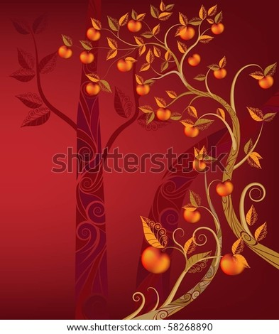 dark trees background. stock vector : On dark-red