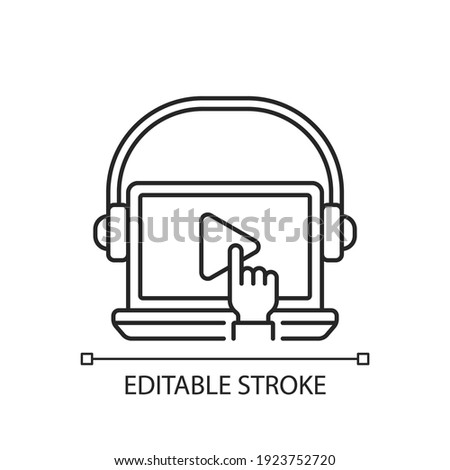 On-demand webinar linear icon. Improving the level of professional skills of personnel. Thin line customizable illustration. Contour symbol. Vector isolated outline drawing. Editable stroke Stock photo ©