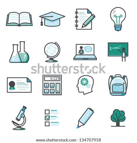 On line learning and education icon set  Harmony series icons. Professional vector icons for your print project or Web site. See more in this series.