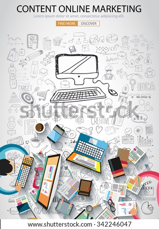 On line marketing concept with Doodle design style :finding ideas,social media advertising, creative slogans. Modern style illustration for web banners, brochure and flyers.