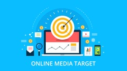 On-line media, target audience, digital marketing, flat design vector concept with marketing icons on blue background