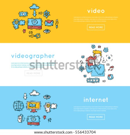 On-line Movies, post production, film and television collection, video-grapher. Banners. Hand drawn vintage style. Flat design vector illustration.
