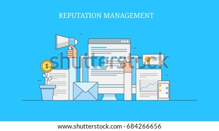On-line reputation management, business brand building, marketing digital strategy flat line vector banner isolated on blue background