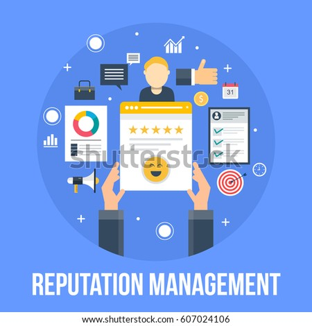 On-line reputation management. Happy client, building website trust vector concept with icons