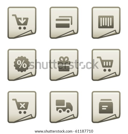 On-line shopping web icons, document series